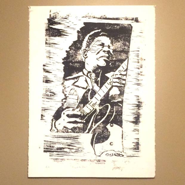 King of the Blues Woodcut